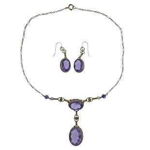 Art Deco 14k Gold Amethyst Earrings Necklace Set