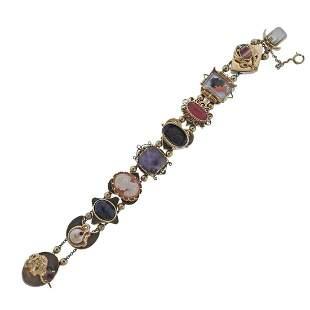 Vintage 14k Gold Gem Set Slide Bracelet