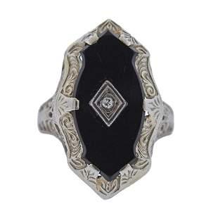 Art Deco Filigree 14k Gold Onyx Diamond Ring