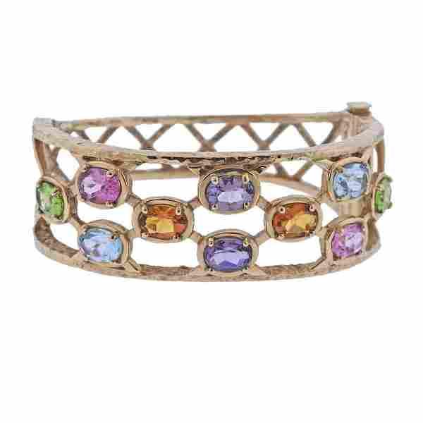 K J Feldman 14k Gold Gem Set Bangle Bracelet