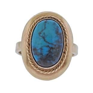 14k Gold Blue Stone Ring
