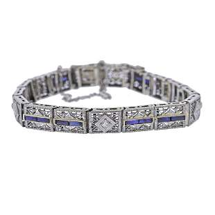Art Deco Filigree Diamond Sapphire Gold Bracelet