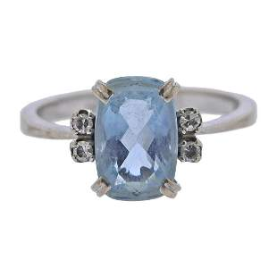 H. Stern 18k Gold Aquamarine Diamond Ring