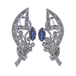 14k Gold Diamond Sapphire Cocktail Earrings