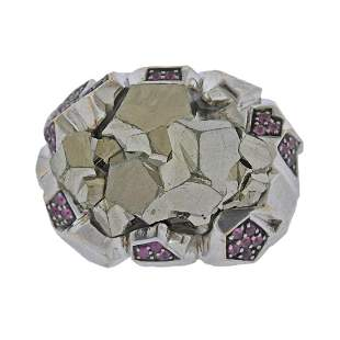 F. Barthe Sterling Silver Ruby Pyrite Ring