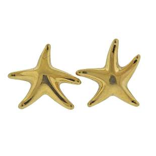 Tiffany & Co Elsa Peretti 18k Gold Starfish Earrings