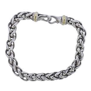 David Yurman Sterling Silver 18k Gold Bracelet
