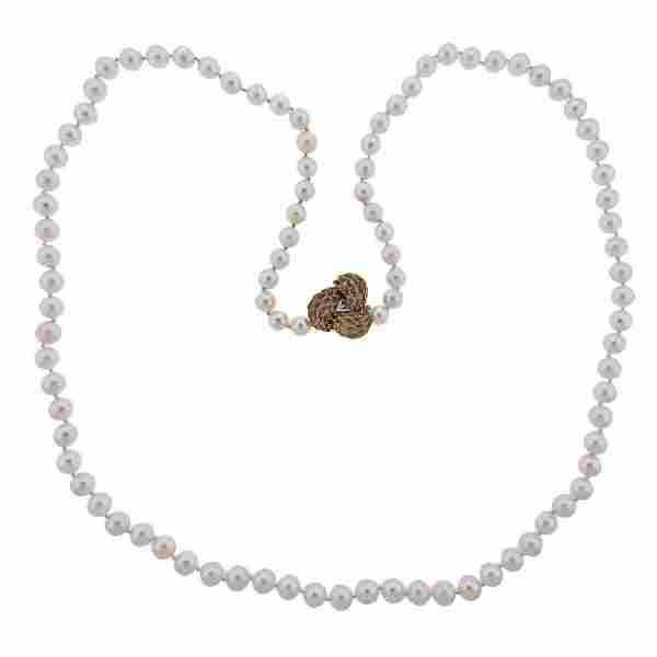 14k Gold Pearl Diamond Necklace