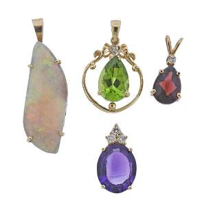 14k Gold Opal Amethyst Peridot Garnet Diamond Pendant