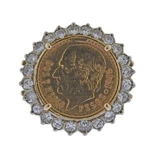14k Gold Diamond 22k Coin Ring