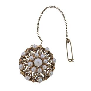 Antique 18K Gold Diamond Pearl Enamel Brooch Pendant