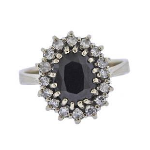 14k Gold Diamond Sapphire Ring