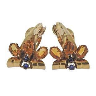 Retro 14K Gold Citrine Sapphire Earrings