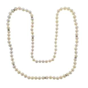 14K Gold Diamond Pearl Necklace