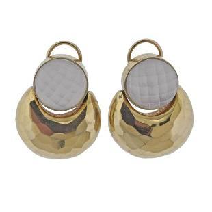 Retro 14K Gold Rock Crystal Earrings