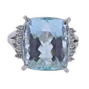12.33ct Aquamarine Diamond Platinum Ring