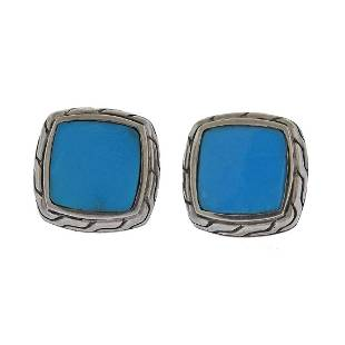 John Hardy Silver Turquoise Classic Chain Earrings