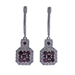 Kallati Ruby Diamond Gold Drop Earrings