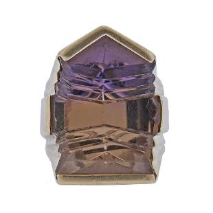14k Gold Fantasy Cut Ametrine Ring