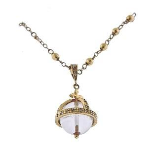 14k Gold Diamond Crystal Pendant Necklace