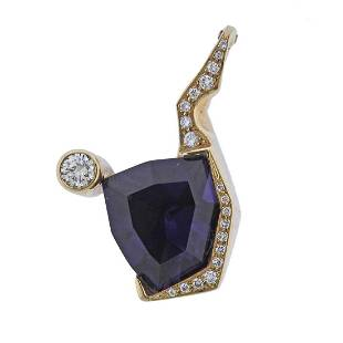 14K Gold Amethyst Diamond Pendant