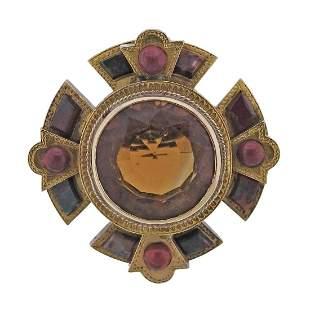 Scottish Antique 14k Gold Agate Gemstone Brooch Pendant