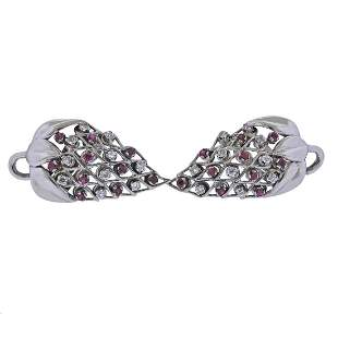 Retro 14k Ruby Diamond Earrings