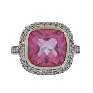 14K Gold Pink Tourmaline Diamond Ring