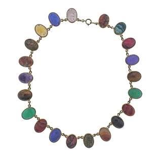 14k Gold Multi Gemstone Scarab Necklace