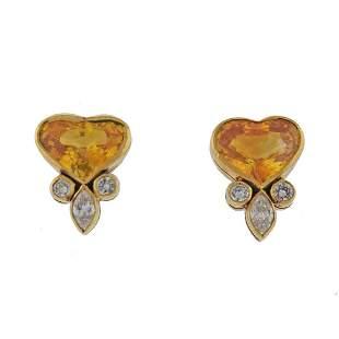 18K Gold Yellow Sapphire Diamond Heart Stud Earrings