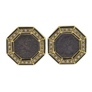 18k Gold Diamond Coin Enamel Earrings