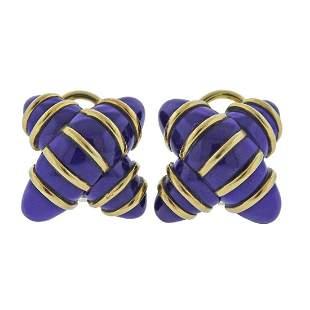 Angela Cummings 18k Gold Enamel X Earrings
