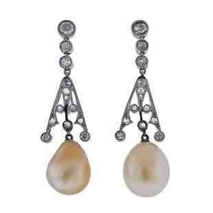 Art Deco Platinum Natural Pearl Diamond Earrings