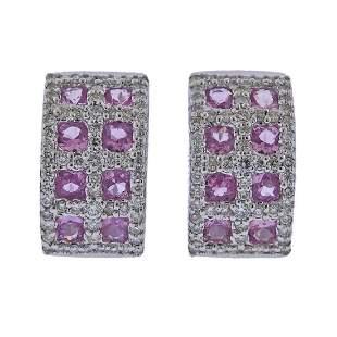 18k Gold Pink Sapphire Diamond Half Hoop Earrings