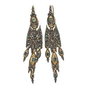 Antique Iberian Emerald Gold Earrings