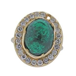 18k Gold 7.75ct Emerald Cabochon Diamond Ring