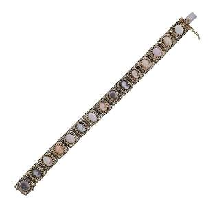 Vintage 14k Gold Multi Gem Cameo Bracelet