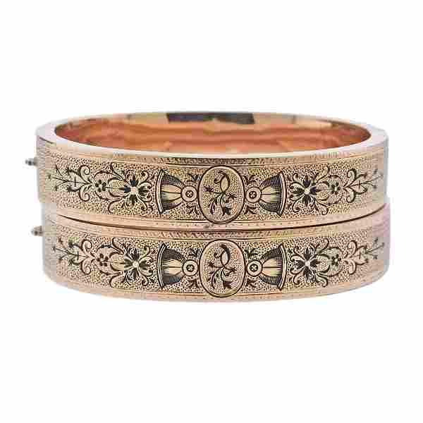 Antique Victorian 14k Gold Enamel Bangle Bracelet Set