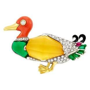 Gold Coral Diamond Emerald Citrine Duck Brooch Pin