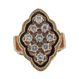 Antique 14k Gold Diamond Enamel Ring