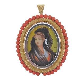 Antique Gold Coral Diamond Miniature Portrait Locket