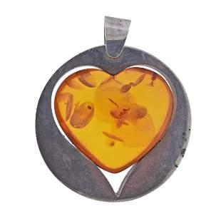 Modernist Sterling Silver Amber Heart Pendant