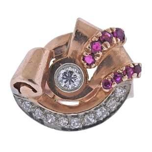Retro 1940s Palladium Gold Diamond Ruby Ring