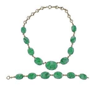 Tiffany & Co 14k Gold Jade Bracelet Necklace Set