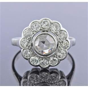 14k Gold Rose Cut Diamond Engagement Ring