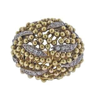 1960s Diamond 14k Gold Dome Ring