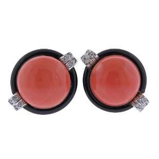 18k Gold Coral Onyx Diamond Earrings