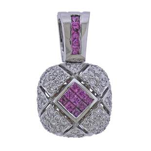 18k Gold Pink Sapphire Diamond Pendant Enhancer