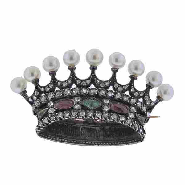 Antique French Victorian Diamond Gemstone Crown Brooch