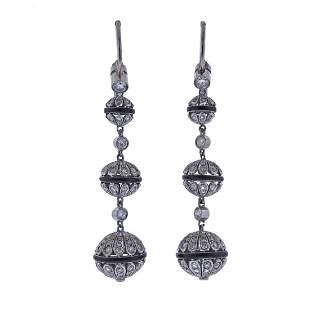 Platinum Gold Diamond Sapphire Ball Drop Earrings
